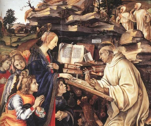 Apparition of The Virgin to St Bernard 1486 detail1
